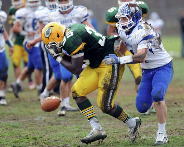 Trinity Catholic's Shawn Brown reacts after dropping a pass during Saturday's football game at Trinity Catholic High School on November 10, 2012. Photo: Lindsay Niegelberg / Stamford Advocate