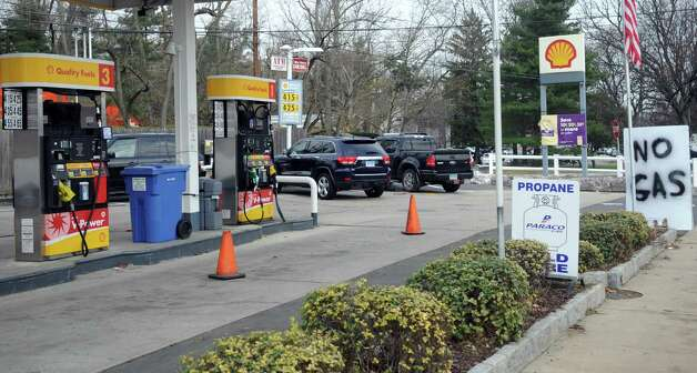 A Shell station in Greenwich advertises they are out of gas on Saturday, November 10, 2012. Photo: Lindsay Niegelberg / Stamford Advocate