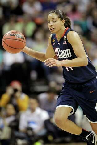 Connecticut guard Bria Hartley (14) during the first half of the NCAA Women's Final Four semi-final college basketball game against Notre Dame in Denver, Sunday, April 1, 2012. (AP Photo/Eric Gay) Photo: Eric Gay, Associated Press / AP