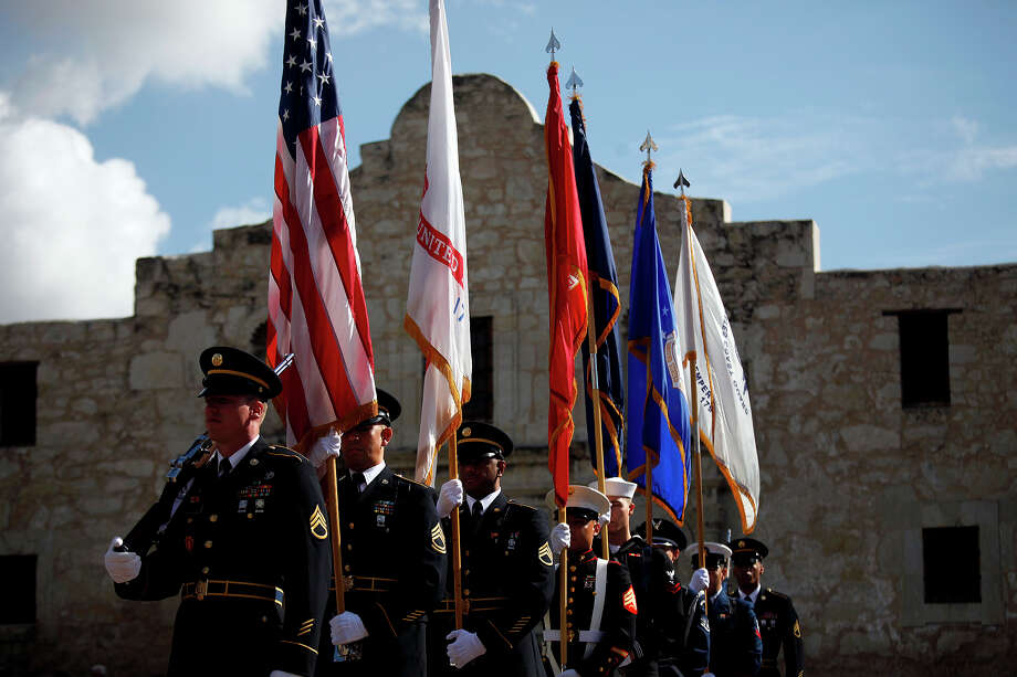 A Color Guard  with members of all branches of military service post the colors during the Wreath Laying Ceremony at the Alamo in San Antonio on Saturday, Nov. 10, 2012. Photo: Lisa Krantz, Express-News / © 2012 San Antonio Express-News