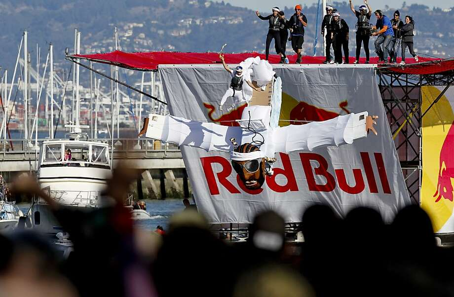 Team Arc Kelly of San Francisco launches their craft on Saturday Nov. 10, 2012. Flugtag, the outrageous human powered flying competition returns to San Francisco, Calif. after a ten year absence. Photo: Michael Macor, The Chronicle