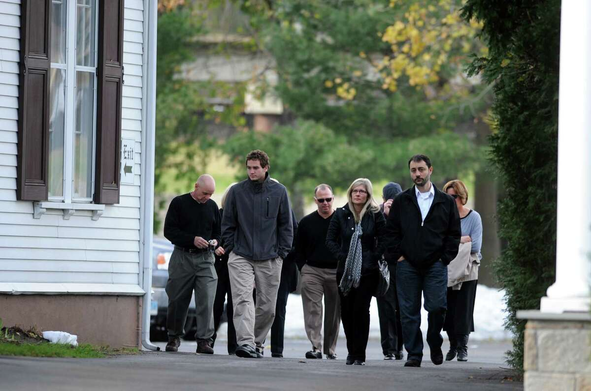 Mourners attend a wake at the Smith & Sefcik Funeral Home in Milford Saturday, Nov. 10, 2012 for Jet Dylan Krumwiede, 21, of Milford, who passed away on Monday, November 5, 2012, during Hurricane Sandy.