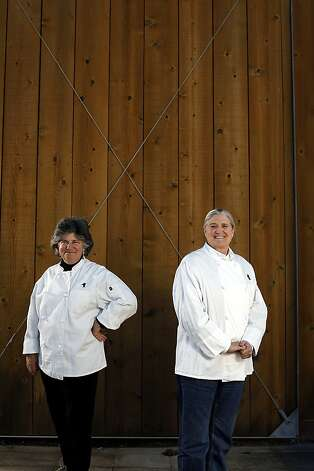 Sue Conley (left) and Peggy Smith, co-founders of Cowgirl Creamery, have been collaborating since they met in college 40 years ago. They're working on a cookbook to be released next fall. Photo: Sarah Rice, Special To The Chronicle