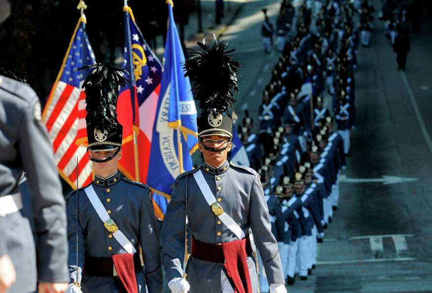 Members of Riverside Military Academy from Gainesville, Ga., march down Baker Street during the 31st
