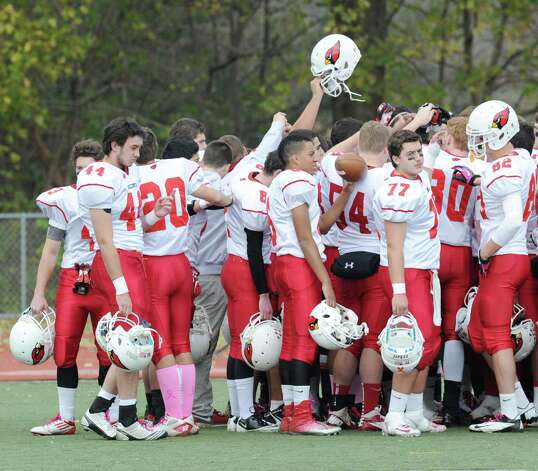 The Greenwich High School football team during the start of the game between Brien McMahon and Greenwich at Brien McMahon High School in Norwalk, Saturday afternoon, Nov. 10, 2012. Photo: Bob Luckey / Greenwich Time