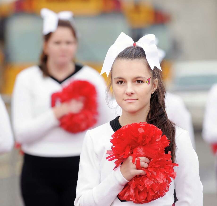 The Greenwich cheerleaders during the high school football game between Brien McMahon and Greenwich at Brien McMahon High School in Norwalk, Saturday afternoon, Nov. 10, 2012. Photo: Bob Luckey / Greenwich Time
