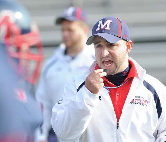 Brien McMahon High School head football coach A.J. Albano during the football game between Brien McMahon and Greenwich at Brien McMahon High School in Norwalk, Saturday afternoon, Nov. 10, 2012. Photo: Bob Luckey / Greenwich Time