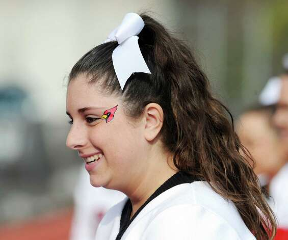 Greenwich High School cheerleader Lauren Bria, 16, during the football game between Brien McMahon and Greenwich at Brien McMahon High School in Norwalk, Saturday afternoon, Nov. 10, 2012. Photo: Bob Luckey / Greenwich Time
