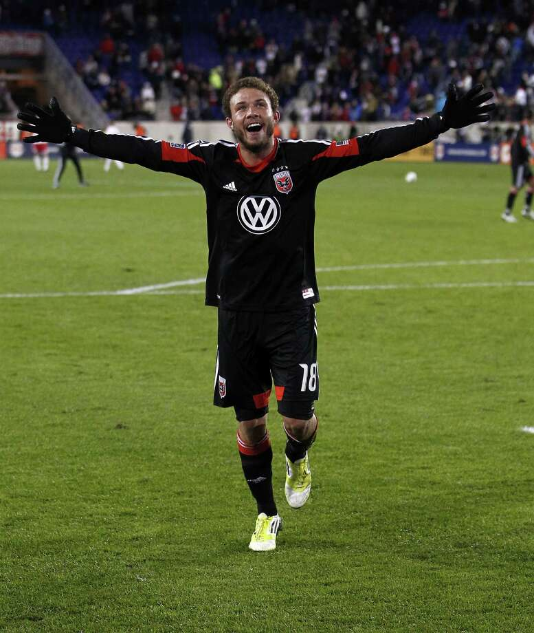 HARRISON, NJ - NOVEMBER 08:   Nick DeLeon #18 of D.C. United celebrates a 1-0 victory over the New York Red Bulls in their Eastern Conference Semifinal match at Red Bull Arena on November 8, 2012 in Harrison, New Jersey.  (Photo by Jeff Zelevansky/Getty Images) Photo: Jeff Zelevansky, Stringer / 2012 Getty Images