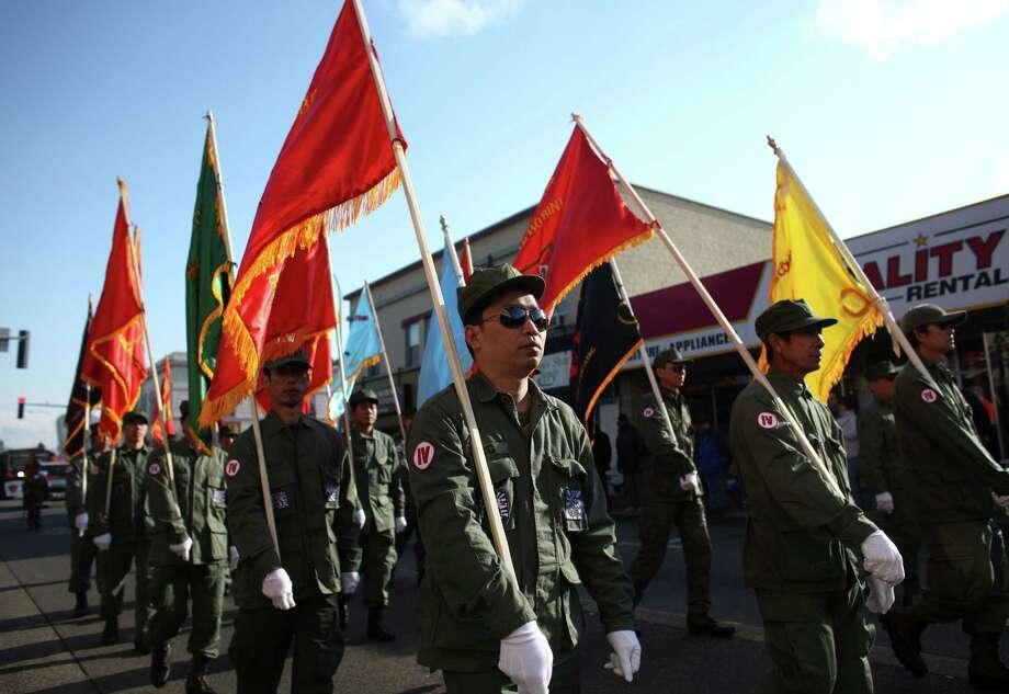 Vietnamese military veterans march in the Auburn Veterans Day Parade. Photo: JOSHUA TRUJILLO / SEATTLEPI.COM