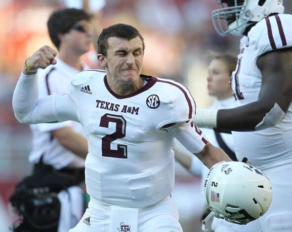 Texas A&M quarterback Johnny Manziel (2) as the touchdown was called after review during the first quarter of a college football game at Bryant-Denny Stadium, Saturday, Nov. 10, 2012, in Tuscaloosa.  ( Karen Warren / Houston Chronicle ) (Houston Chronicle)