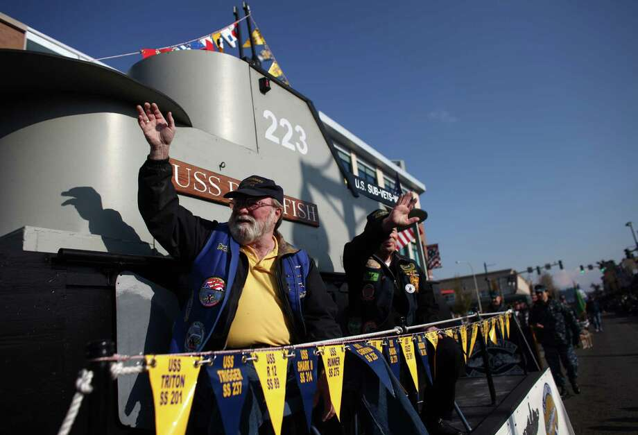 Submarine veterans ride on a float during the Auburn Veterans Day Parade. Photo: JOSHUA TRUJILLO / SEATTLEPI.COM