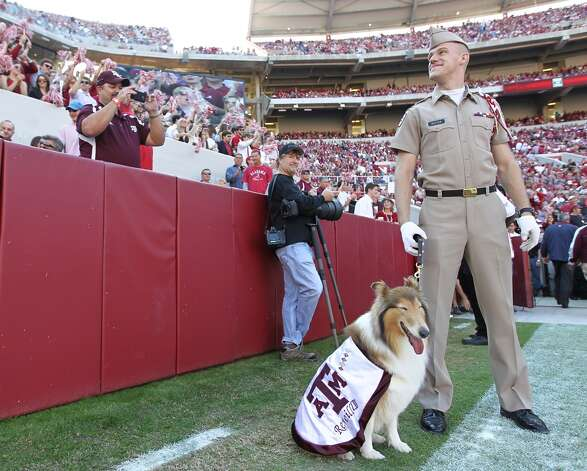 Texas A&M cadet Daylon Koster with Reveille VIII before the start of a college football game at Bryant-Denny Stadium, Saturday, Nov. 10, 2012, in Tuscaloosa.  ( Karen Warren / Houston Chronicle ) (Houston Chronicle)