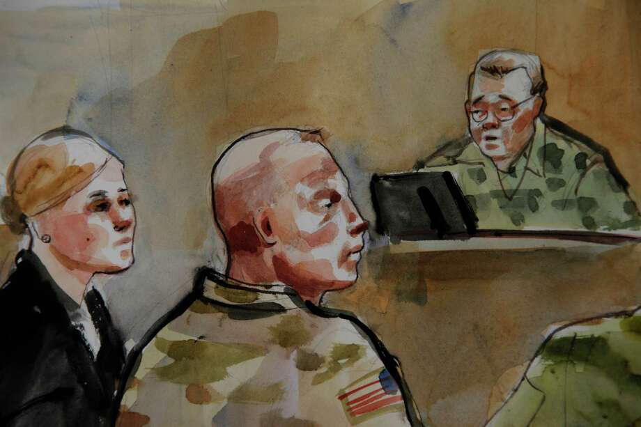 Army Staff Sgt. Robert Bales watched video-link testimony from some of the victims of a March 11 shooting rampage in Afghanistan of which he is accused. Photo: Lois Silver, FRE / FR 170774 AP