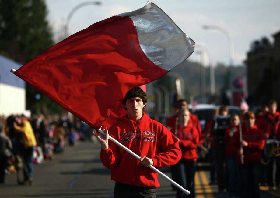 A member of the Columbia Pride Marching Band participates in the Auburn Veterans Day Parade. Photo: JOSHUA TRUJILLO / SEATTLEPI.COM