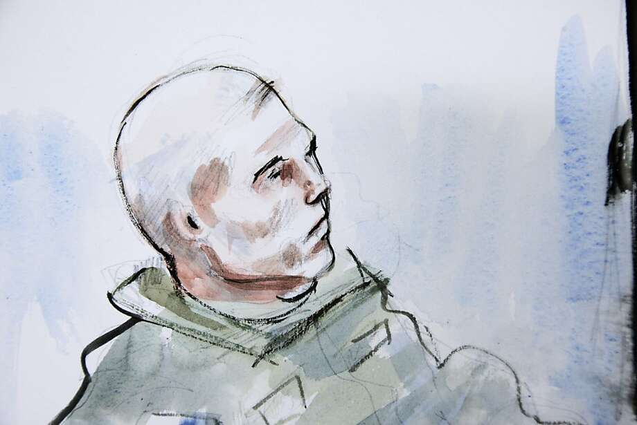 In this detail from a courtroom sketch, U.S. Army Staff Sgt. Robert Bales is shown in the early morning hours of Saturday, Nov. 10, 2012 during his preliminary military hearing in a military courtroom at Joint Base Lewis McChord in Washington state. Bales is accused of 16 counts of premeditated murder and six counts of attempted murder for a pre-dawn attack on two villages in Kandahar Province in Afghanistan in March, 2012. The overnight hearing session was held at night to facilitate the video testimony from Afghanistan. (AP Photo/Lois Silver) Photo: Lois Silver, Associated Press