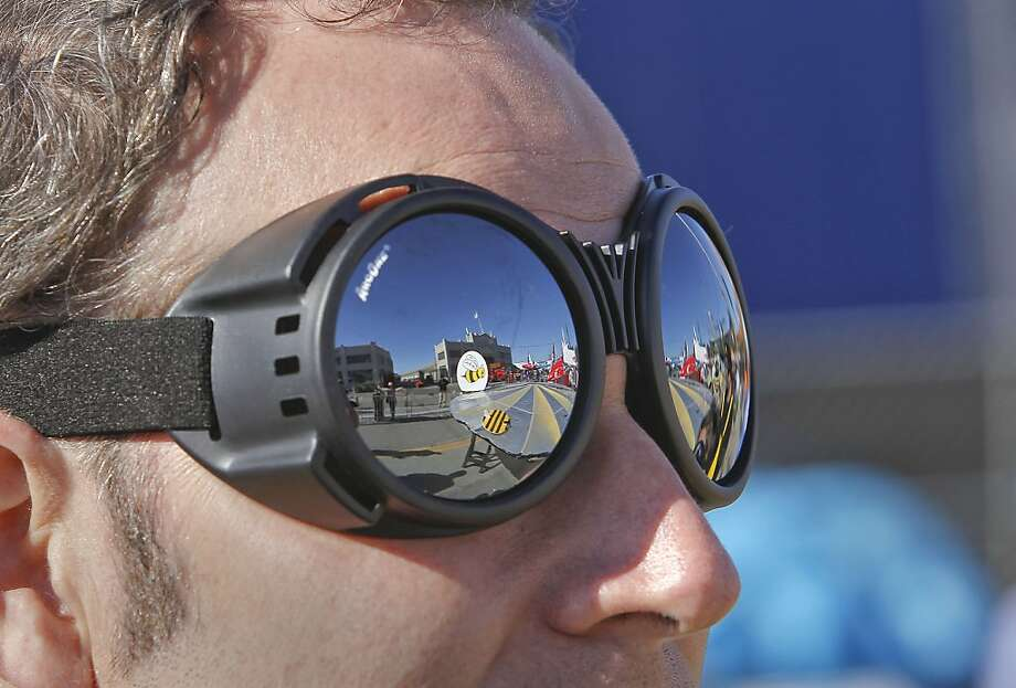 John Kanalakis of Team Bumblebee of San Jose with their craft relected in his glasses as they prepare for flight on Saturday Nov. 10, 2012. Flugtag, the outrageous human powered flying competition returns to San Francisco, Calif. after a ten year absence. Photo: Michael Macor, The Chronicle