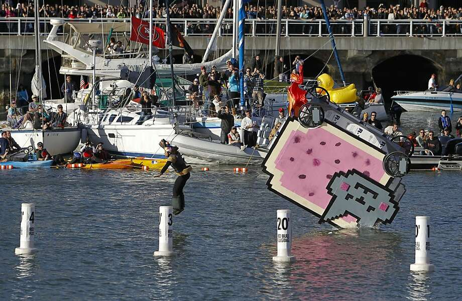 Team Nyan Cat, from Tempe Arizona,  piloted by Chelsea Howard approaches the water during the competition on Saturday Nov. 10, 2012. Flugtag, the outrageous human powered flying competition returns to San Francisco, Calif. after a ten year absence. Photo: Michael Macor, The Chronicle