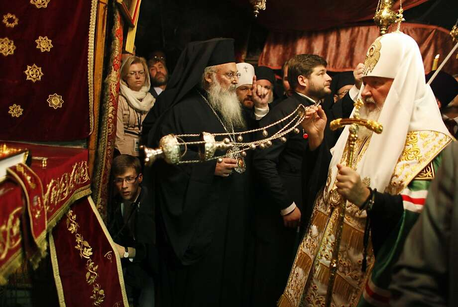 Kirill, the Patriarch of Moscow and all Russia, swings an incense burner during prayers in the Grotto, inside the Church of the Nativity, during a visit to the site revered as the birthplace of Jesus in the West Bank town of Bethlehem, November 10, 2012. (AP/Ammar Awad, Pool) Photo: Ammar Awad, Associated Press