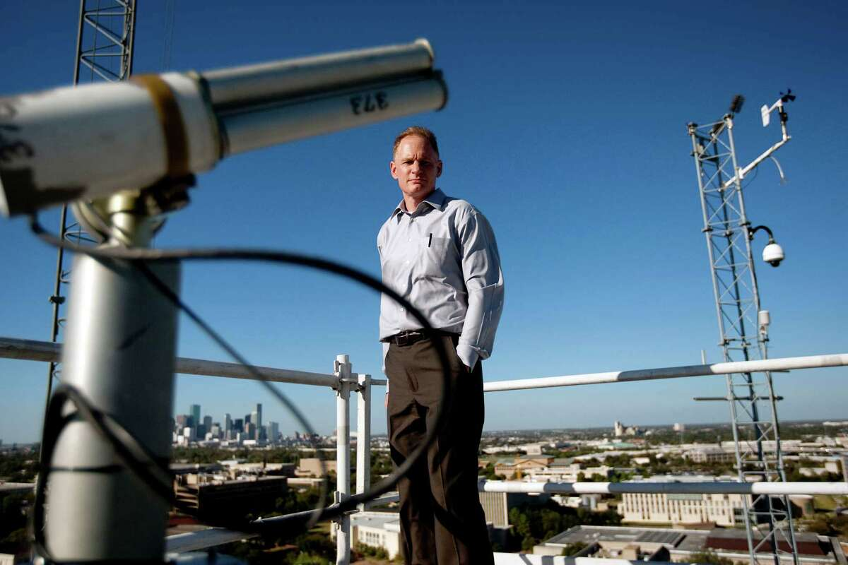 Barry Lefer, an atmospheric chemist and University of Houston professor, is part of an effort that will measure emissions. He stands at the Moody Tower air quality monitoring station on the UH campus.