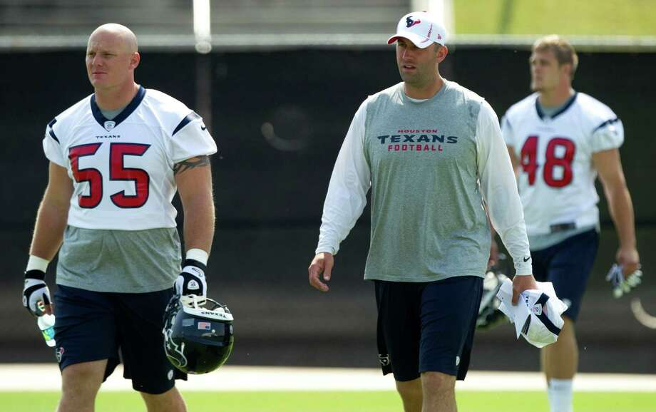 Texans center Chris Myers once considered serving in the military before receiving a football scholarship. Photo: Brett Coomer, Staff / © 2012 Houston Chronicle