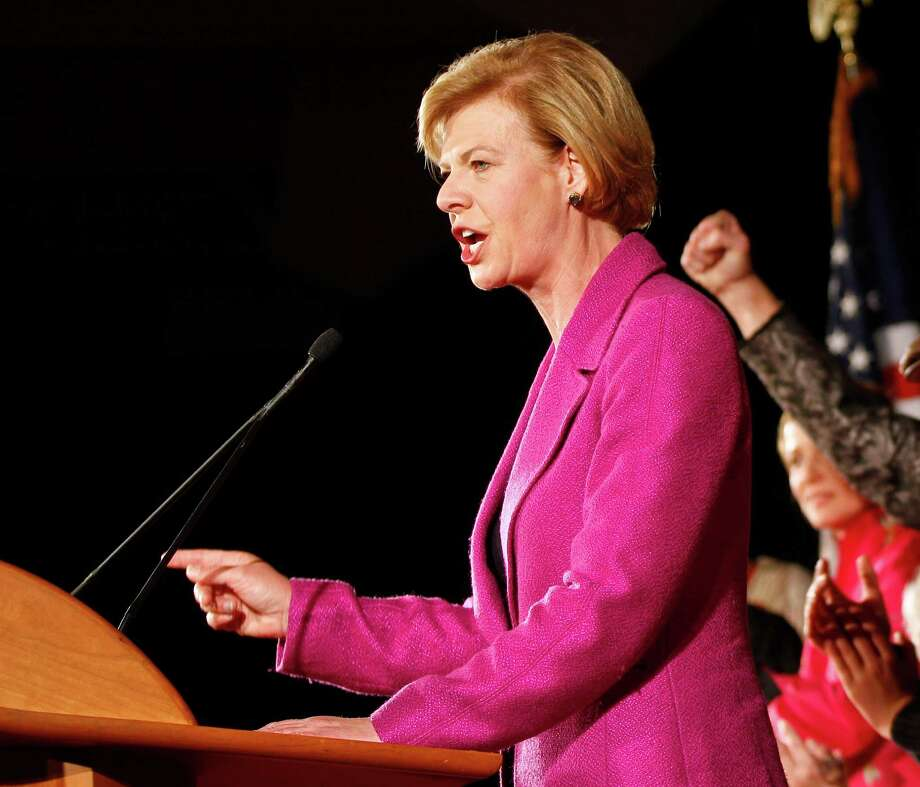 Senator-elect Tammy Baldwin make her victory speech, in Madison, Wis., on Tuesday. The victory by the liberal, first openly gay senator, countered a recent trend in the state that favored conservative candidates. Photo: Andy Manis, FRE / FR19153 AP