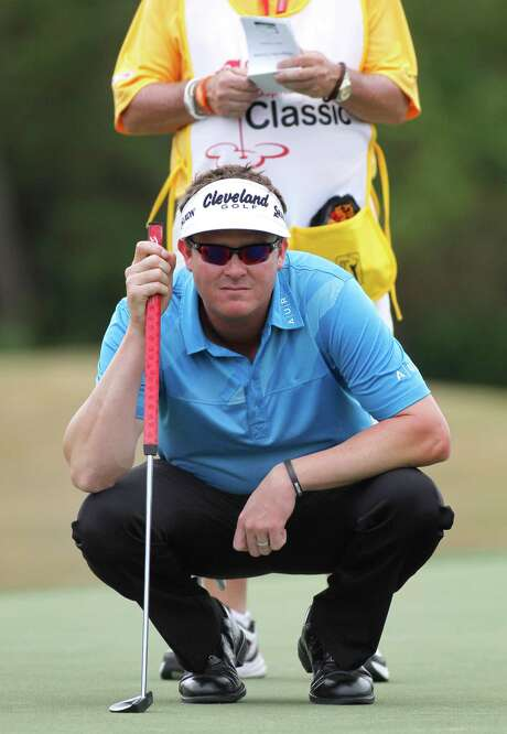 Charlie Beljan lines up his putt on the eighth hole during the third round of the Children's Miracle Network Hospitals golf tournament in Lake Buena Vista, Fla., on Saturday, Nov. 10, 2012. (AP Photo/Reinhold Matay) Photo: Reinhold Matay, FRE / FR156687 AP