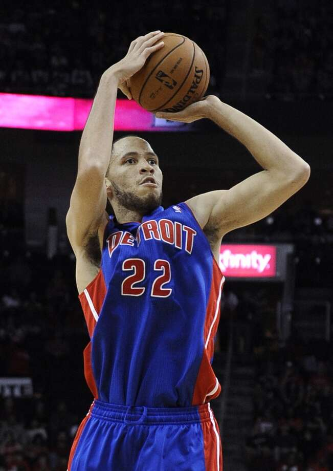 Detroit Pistons' Tayshaun Prince takes a shot in the first half. (Pat Sullivan / Associated Press)