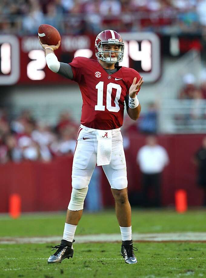 TUSCALOOSA, AL - NOVEMBER 10:  Quarterback AJ McCarron #10 of the Alabama Crimson Tide throws a pass during the game against the Texas A&M Aggies at Bryant-Denny Stadium on November 10, 2012 in Tuscaloosa, Alabama.  (Photo by Mike Zarrilli/Getty Images) Photo: Mike Zarrilli, Getty Images