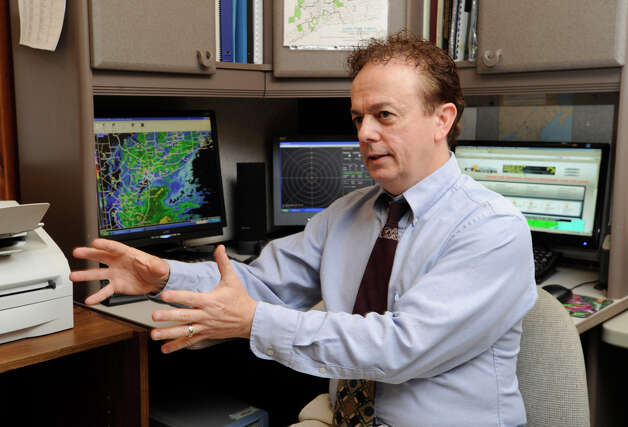 Bill Jacquemin, meterorlogist with the Connecticut Weather Station, talks about tracking Hurricane Sandy, Monday, Oct. 29, 2012. Photo: Carol Kaliff / The News-Times