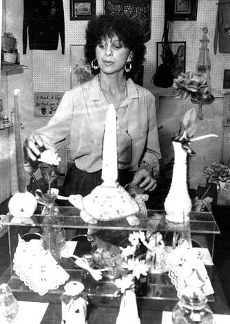 Theresa Brown charged with operating a brothel in San Antonio in 1980. Theresa Brown works on her flea market booth on 3903 Eisenhauer Road in San Antonio. Photo dated 1984 Photo: San Antonio Express-News