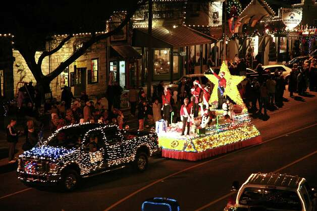 Floats, bands and St. Nick are included in the Friday, Dec. 7, Lighted Christmas Parade downtown Fredericksburg. Photo: Steve Rawls/Fredericksburg CVB, Courtesy Photo