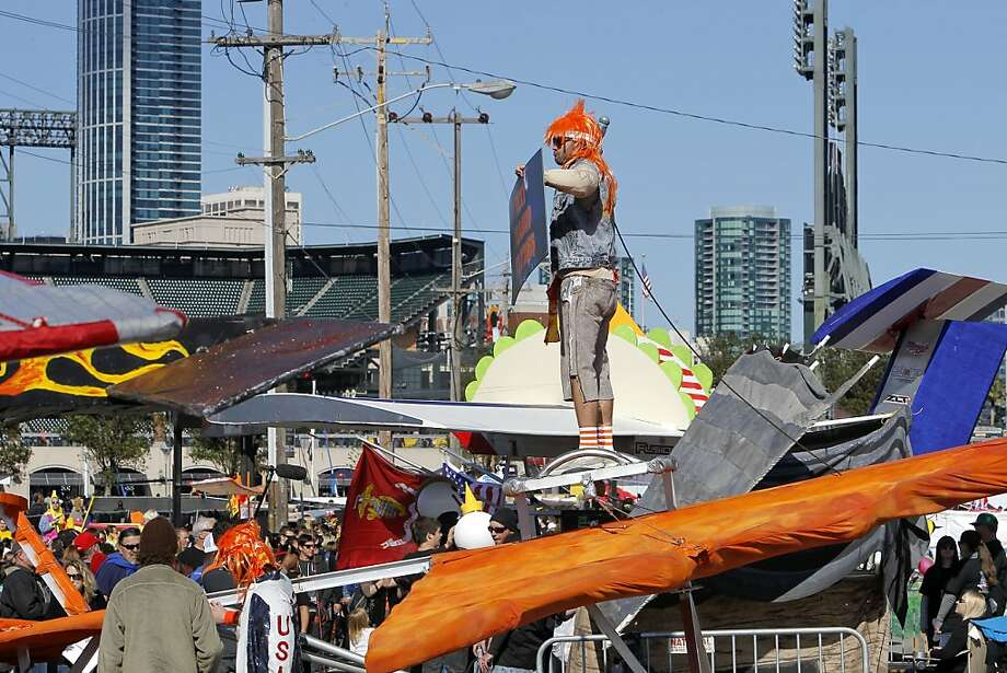 Evan Schultz of Team Macho Cheese of San Francisco, aboard their vehicle as they prepare for flight on Saturday Nov. 10, 2012. Flugtag, the outrageous human powered flying competition returns to San Francisco, Calif. after a ten year absence. Photo: Michael Macor, The Chronicle