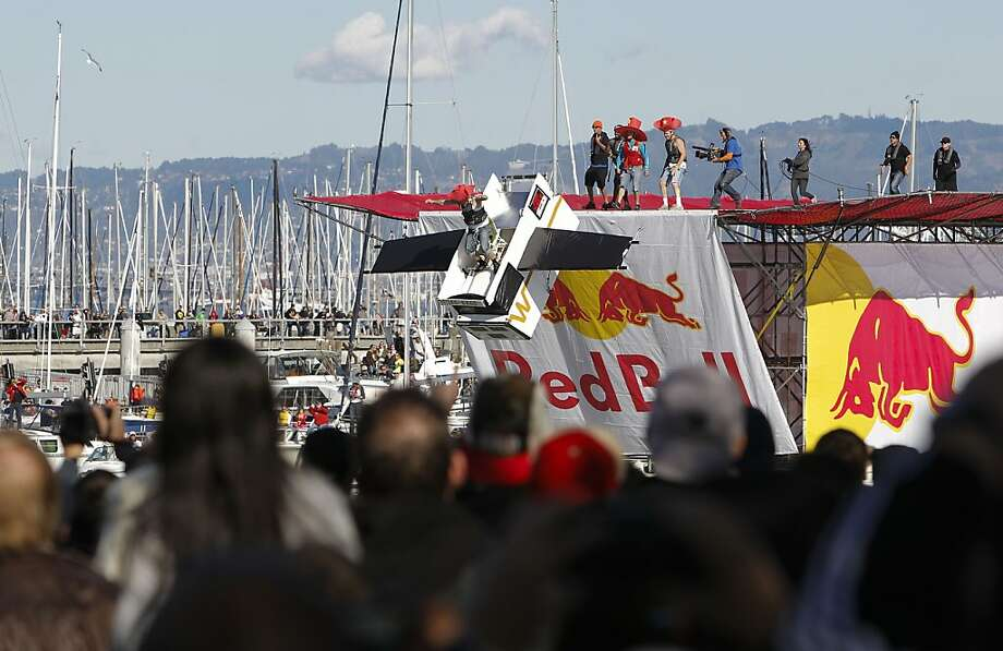 Team Hydro-Bago of San Francisco launch their craft on Saturday Nov. 10, 2012. Flugtag, the outrageous human powered flying competition returns to San Francisco, Calif. after a ten year absence. Photo: Michael Macor, The Chronicle