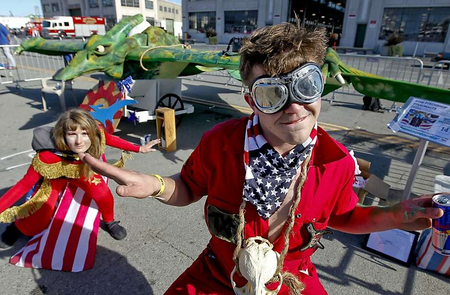 Laura Stevenson and Conor Landenberger of Team Pthe Ptechshop Pteronauts of San Francisco in costumes as they prepare for flight on Saturday Nov. 10, 2012. Flugtag, the outrageous human powered flying competition returns to San Francisco, Calif. after a ten year absence. Photo: Michael Macor, The Chronicle