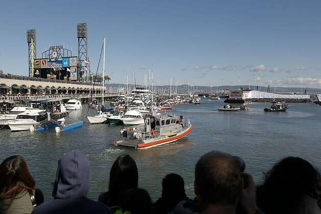 McCovey Cove filled with boats and fans to watch as contestants launch their crafts on Saturday Nov. 10, 2012. Flugtag, the outrageous human powered flying competition returns to San Francisco, Calif. after a ten year absence. Photo: Michael Macor, The Chronicle