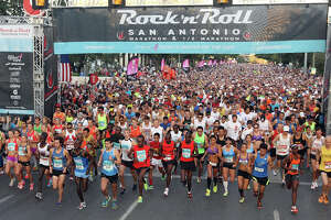 The top group takes off as 25,000 runners participate in the Rock 'n' Roll San Antonio Marathon and 1/2 Marathon, Sunday, Nov. 11, 2012. San Antonio's Jose Munoz won the marathon with a time of 2:27:51.