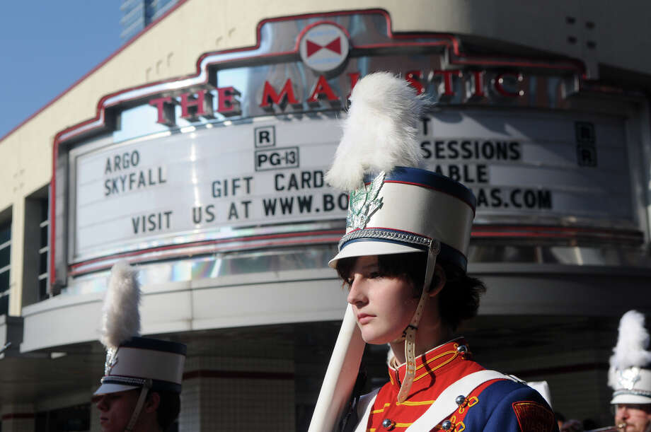 Justine Conley marches with the Norwalk Nash Drum Corps during Stamford's Annual Veterans Day Parade from Hoyt Street to Veterans Park in Stamford, Conn., Nov. 11, 2012. Photo: Keelin Daly / Stamford Advocate Freelance