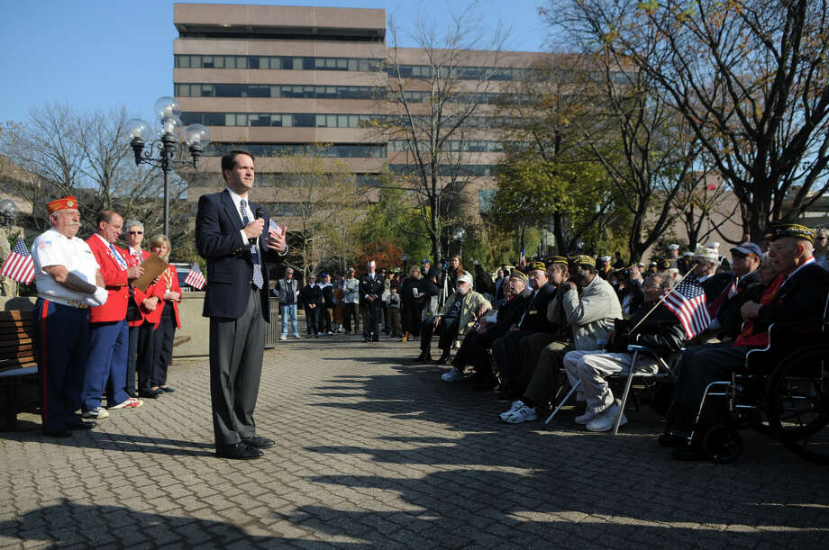Congressman Jim Himes addresses veterans after Stamford's Annual Veterans Day Parade from Hoyt Street to Veterans Park in Stamford, Conn., Nov. 11, 2012. Photo: Keelin Daly / Stamford Advocate Freelance