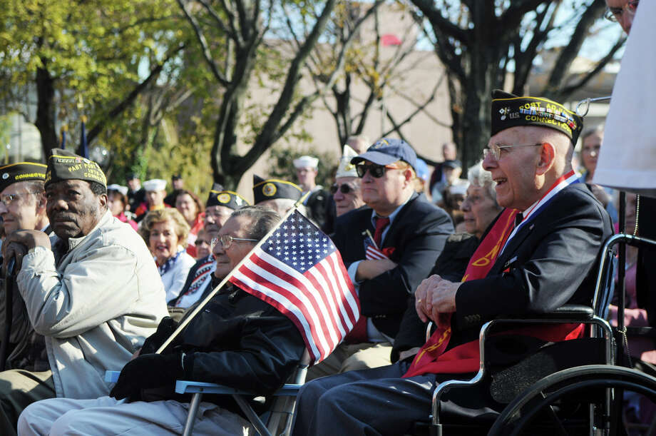 Grand Marshal Robert Castrignano watches the ceremony after Stamford's Annual Veterans Day Parade from Hoyt Street to Veterans Park in Stamford, Conn., Nov. 11, 2012. Photo: Keelin Daly / Stamford Advocate Freelance