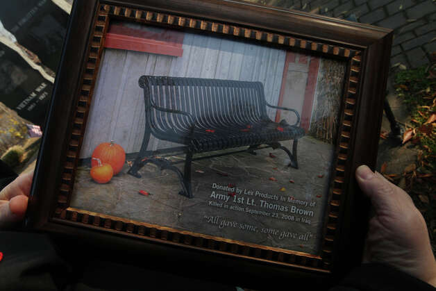 A picture of a bench that was dedicated to Lieutenant Thomas J. Brown before the annual American Legion Post 16's Veterans Day Ceremony at Veterans Memorial Park in Shelton, Conn. on November 11, 2012. Lt. Brown was killed in the line of duty on September 23, 2008 in Iraq. Photo: BK Angeletti, B.K. Angeletti / Connecticut Post freelance B.K. Angeletti