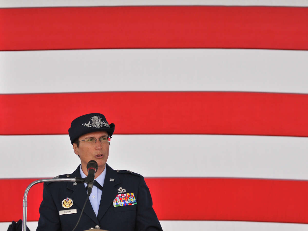 Air Force Brigadadier General Theresa Carter speaks during the Veterens Day Ceremony at Ft. sam Houston National Cemetery Sunday morning.