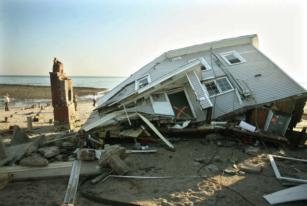 A house destroyed in Hurricane sandy on Fairfield Beach Road in Fairfield, site of a large volunteer beach cleanup effort on Sunday, November 11, 2012. Photo: Brian A. Pounds / Connecticut Post