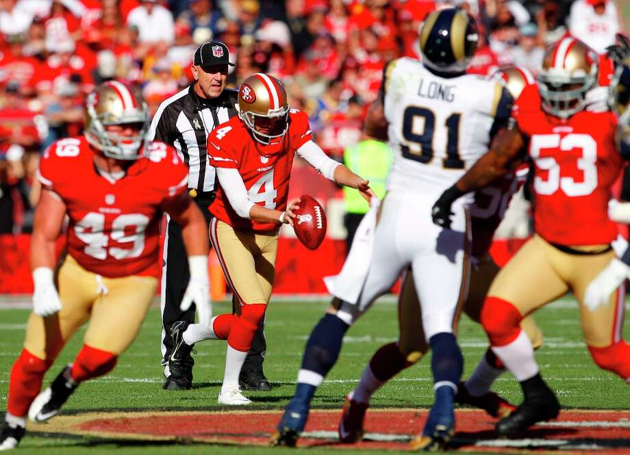 Punter Andy Lee (4) kicks the ball during the first quarter of the San Francisco 49ers game against the St. Louis Rams at Candlestick Park in San Francisco, Calif., on Sunday November 11, 2012. Photo: Carlos Avila Gonzalez, The Chronicle / ONLINE_YES