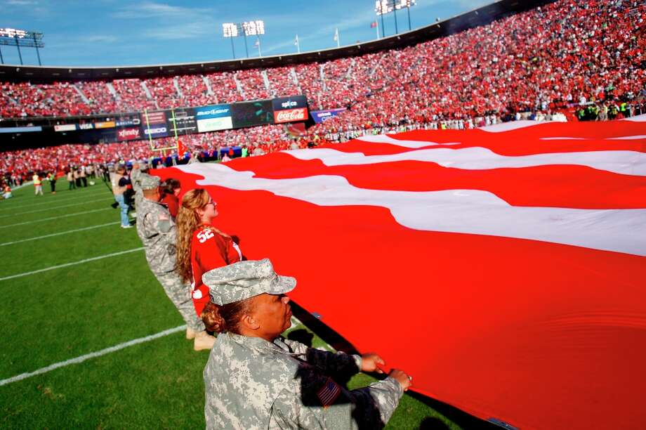 The military are honored on Veterans day before the San Francisco 49ers play the St. Louis Rams at Candlestick Park in San Francisco, Calif., on Sunday November 11, 2012. Photo: Carlos Avila Gonzalez, The Chronicle / ONLINE_YES