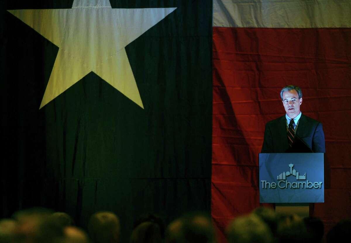 Texas speaker of the house Joe Straus speaks during a luncheon for the Great SA Chamber of Commerce at the Grand Hyatt on Thursday, Nov. 8, 2012.
