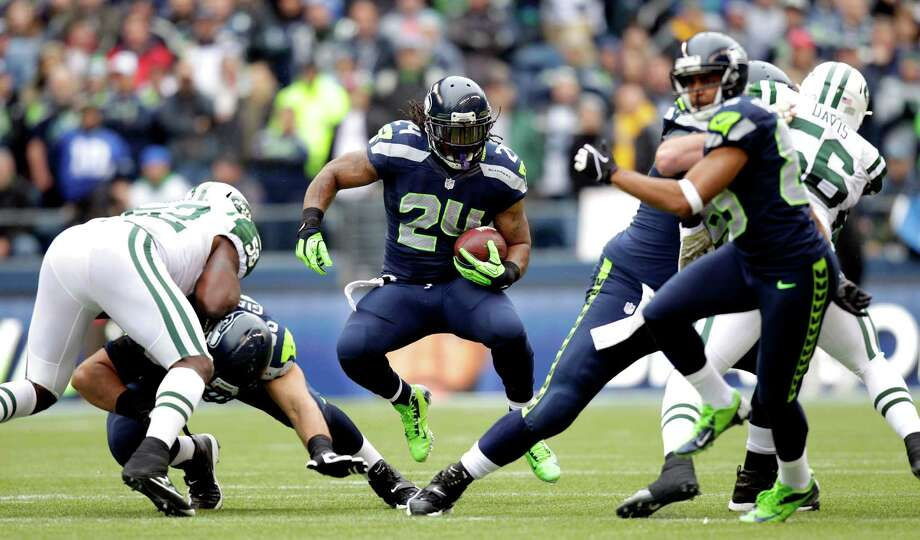 Seattle Seahawks' Marshawn Lynch (24) rushes against the New York Jets during the first half of an NFL football game, Sunday, Nov. 11, 2012, in Seattle. Photo: AP