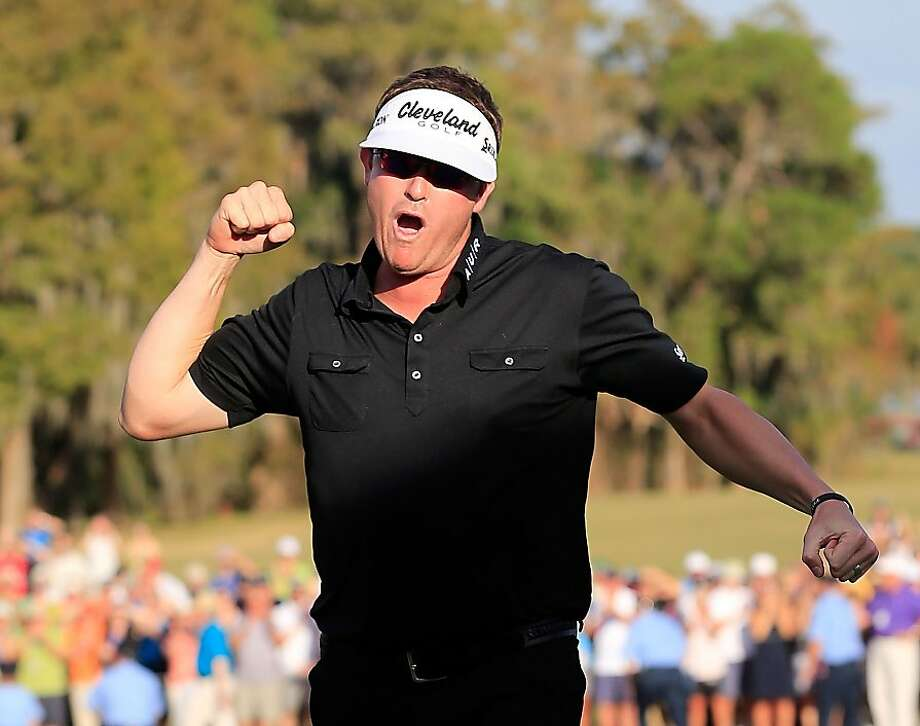 Charlie Beljan celebrates his victory in the Children's Miracle Network Hospitals Classic, his first win on the PGA Tour. Photo: Sam Greenwood, Getty Images