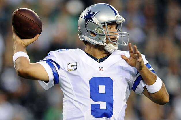 Dallas Cowboys quarterback Tony Romo passes in the first half of an NFL football game against the Philadelphia Eagles, Sunday, Nov. 11, 2012, in Philadelphia. (AP Photo/Michael Perez) (Associated Press)