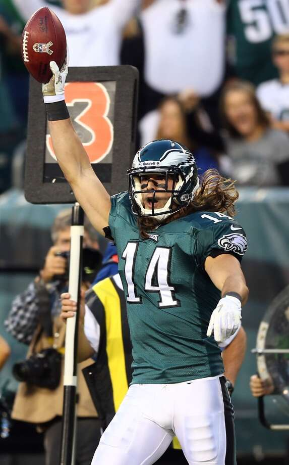 Riley Cooper #14 of the Philadelphia Eagles celebrates his touchdown in the first quarter against the Dallas Cowboys on November 11, 2012 at Lincoln Financial Field in Philadelphia, Pennsylvania.  (Photo by Elsa/Getty Images) (Getty Images)